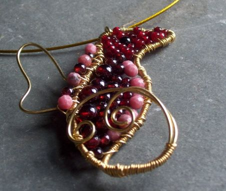 Custom Made Rose The Dragon Queen Pendant Hand Forged Wire Wrapped Dark Red Garnet And Pink Rhodonite