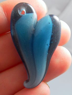 Custom Made Transparent Blue Hand-Blown Glass Heart Pendant With White Core