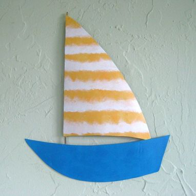 Custom Made Handmade Upcycled Metal Sailboat Wall Art Sculpture In Yellow And Blue