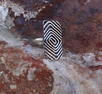 Custom Made Concentric Square Ring - Oxidised Fine Silver