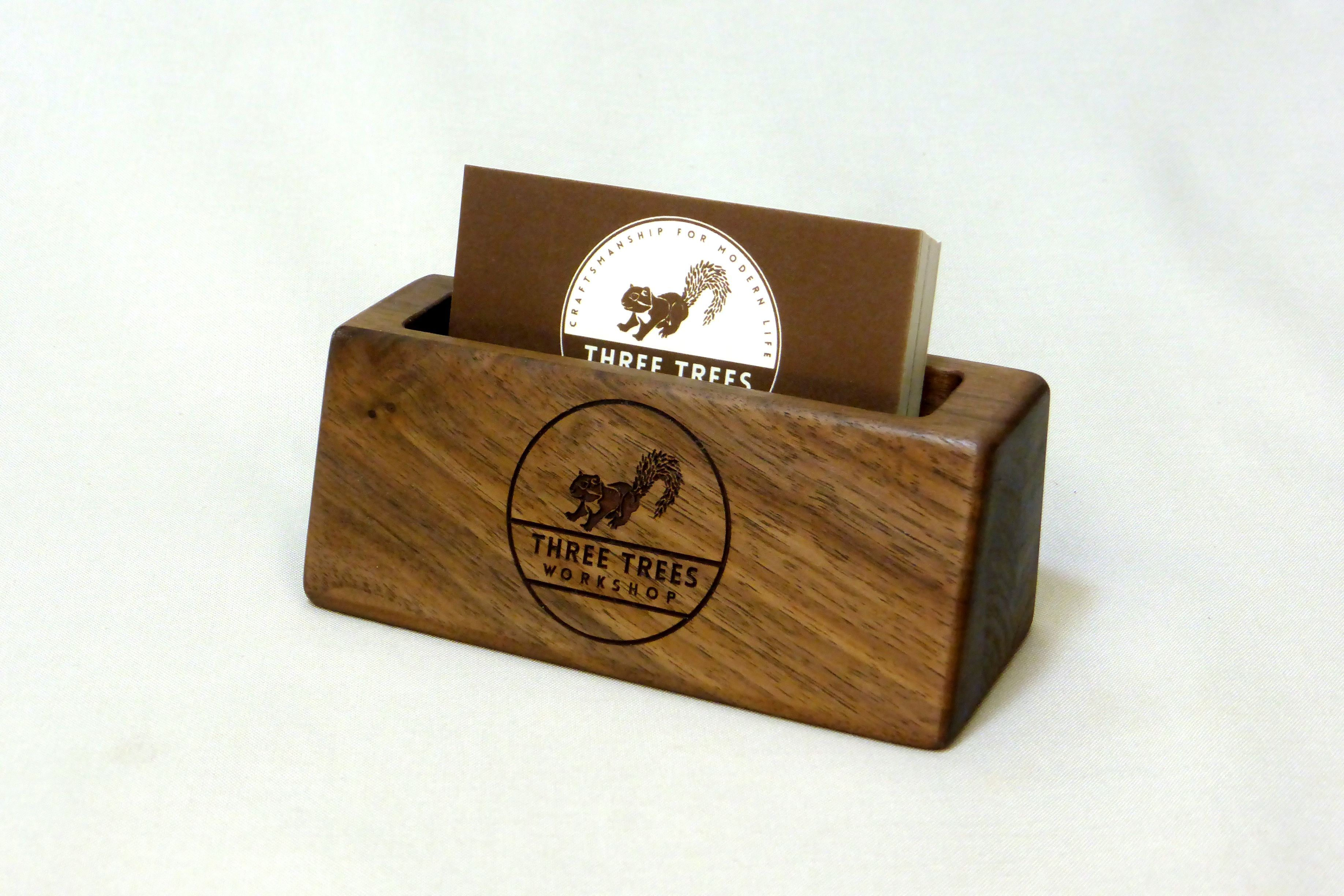 Buy a Hand Made Solid Walnut Business Card Holder Option For