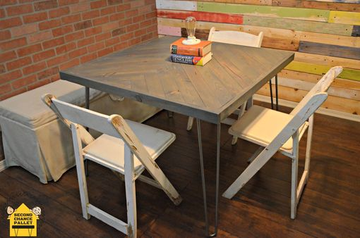 Custom Made Reclaimed Dining Table-Handcrafted Herringbone Dining Table