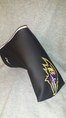 Custom Made Custom Putter Fore Leaf Golf Head Cover, Black With Embroidered Baltimore Ravens Logo