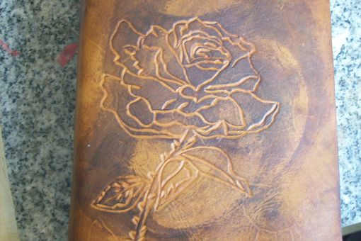 Custom Made Custom Leather Journal With Rose Design In Weathered Color