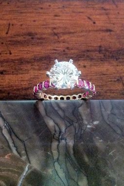 Custom Made 2 Carat Diamond Burmese Ruby Eternity Band