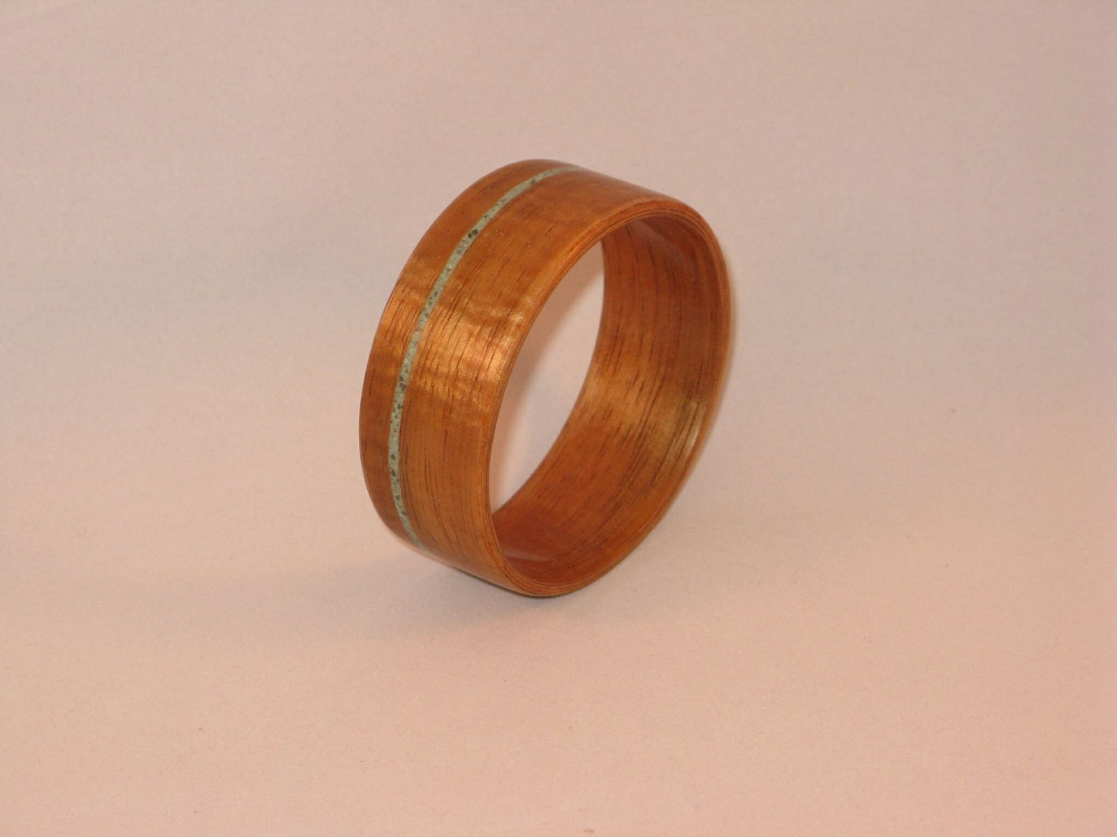 2992f96f0e2de Hand Crafted Figured Hawaiian Koa Bentwood Bangle Bracelet With Turquoise  Inlay-Handmade Wooden Bracelet by Cronin Woodworking