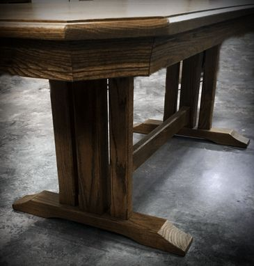 Custom Made Trestle Solid Oak Dining Table