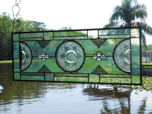 Custom Made Antique Stained Glass Transom Window, Vintage Window Valance, Recycled Glass