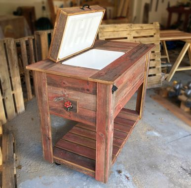 Custom Made Red Barnwood Ice Chest Cooler And Cabinet