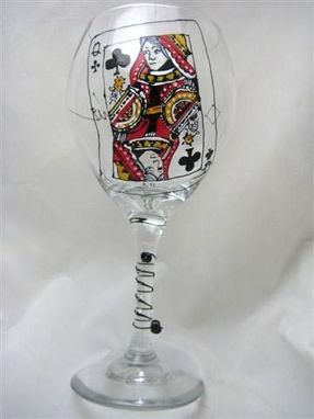 Custom Made Queen Of Clubs Wine Goblet Design