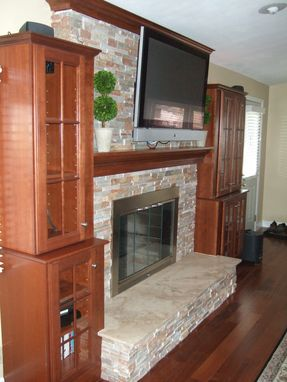 Custom Made Mantel, Crown Molding, Stone Fireplace Surround And Cabinets