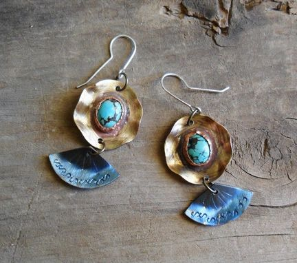 Custom Made Funky Brass Earrings With Oval Turquoise Stones