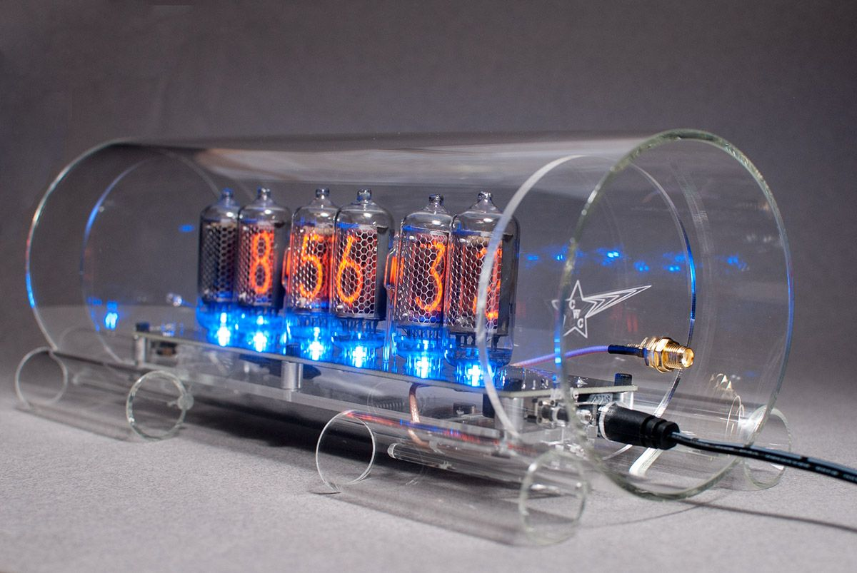 Gps Time Sync Nixie Clock In-8-2 With Blue Floor Leds