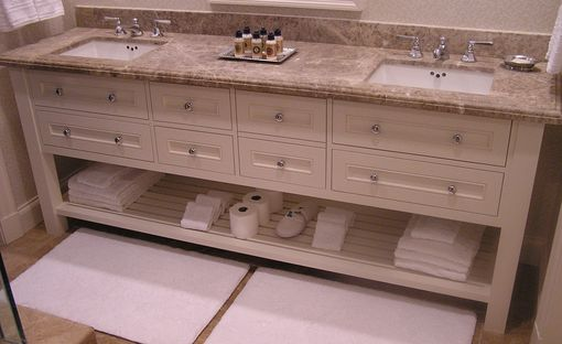 Custom Made Bath Cabinet, Painted Shaker Inset