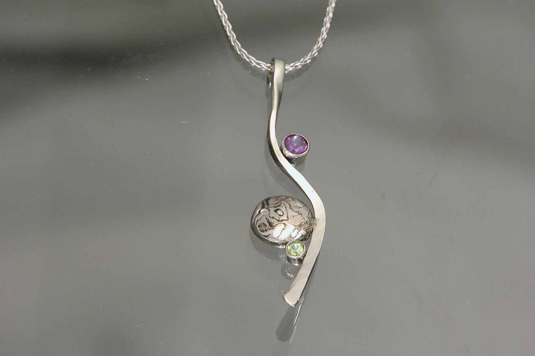 Hand made 14kt white goldmokume gane pendant with amethyst and custom made 14kt white goldmokume gane pendant with amethyst and peridot aloadofball Gallery