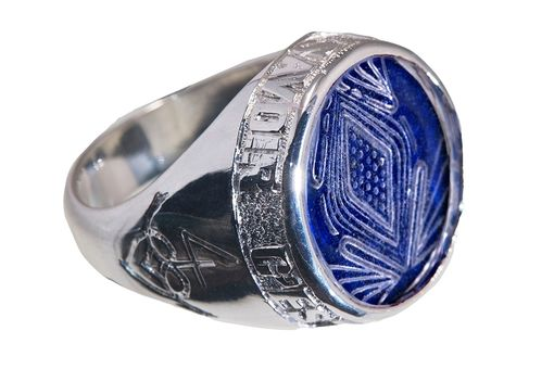 Custom Made Amazing Rock Crystal And Lapis Custom Ring