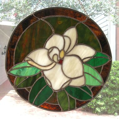 Custom Made Stained Glass Magnolia