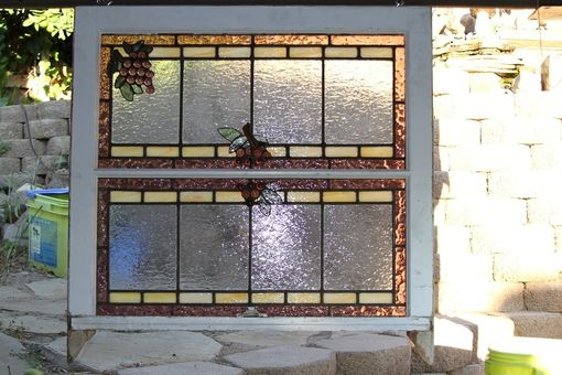 Custom Made Stained Glass Window With Grapes