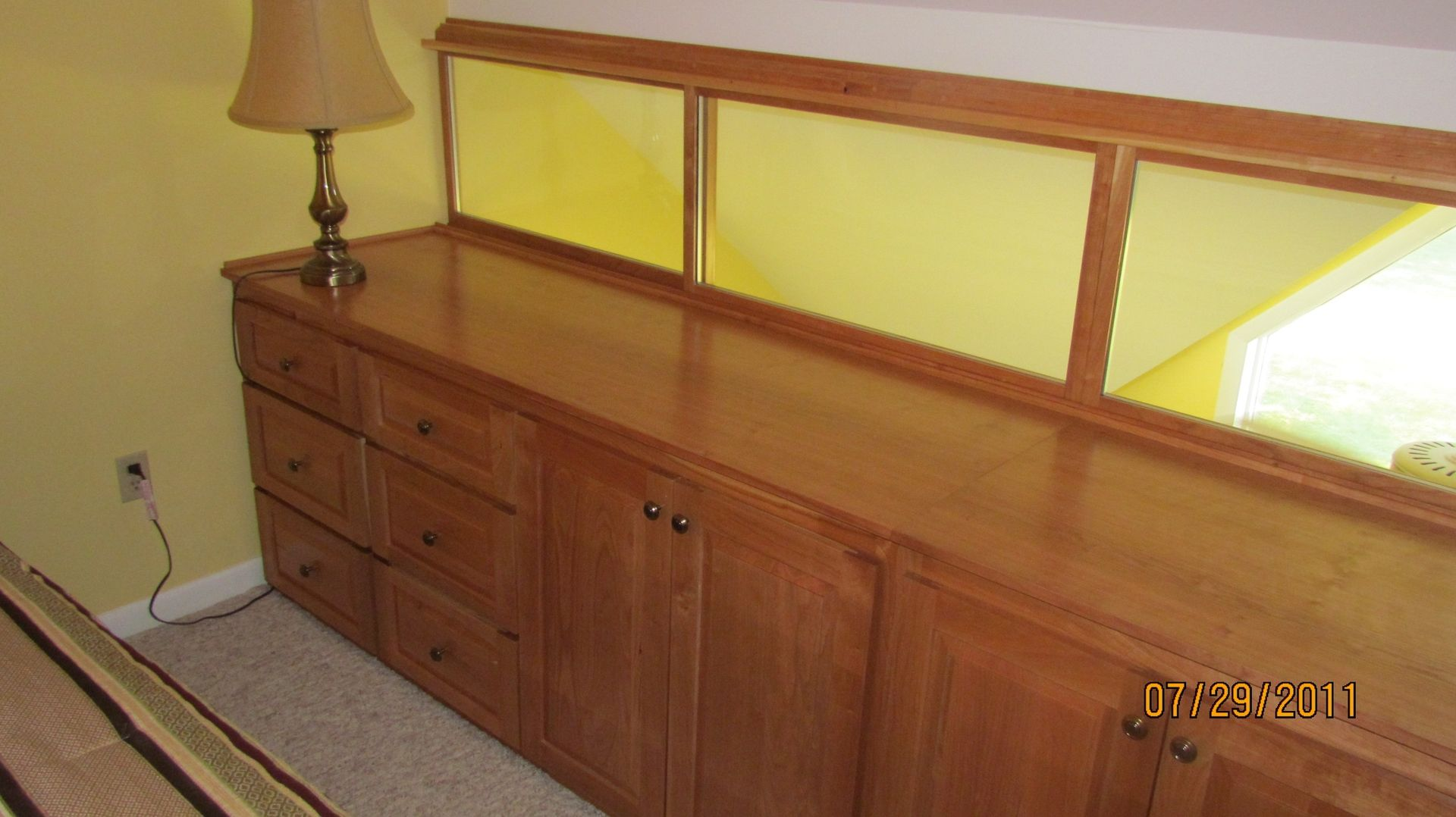 Hand Crafted Solid Cherry Built In His And Hers Dresser With Sliding  Windows by Five Points Custom Woodworking   CustomMade com. Hand Crafted Solid Cherry Built In His And Hers Dresser With