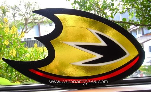 Custom Made Stained Glass And Fused Glass Sidelight - Dallas Cowboys And Anaheim Ducks