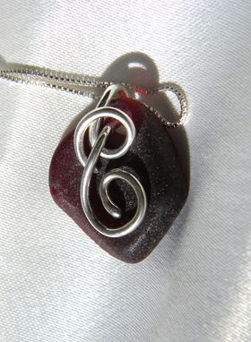 Custom Made Swirl-In-Diamond Necklace With Red Sea Glass