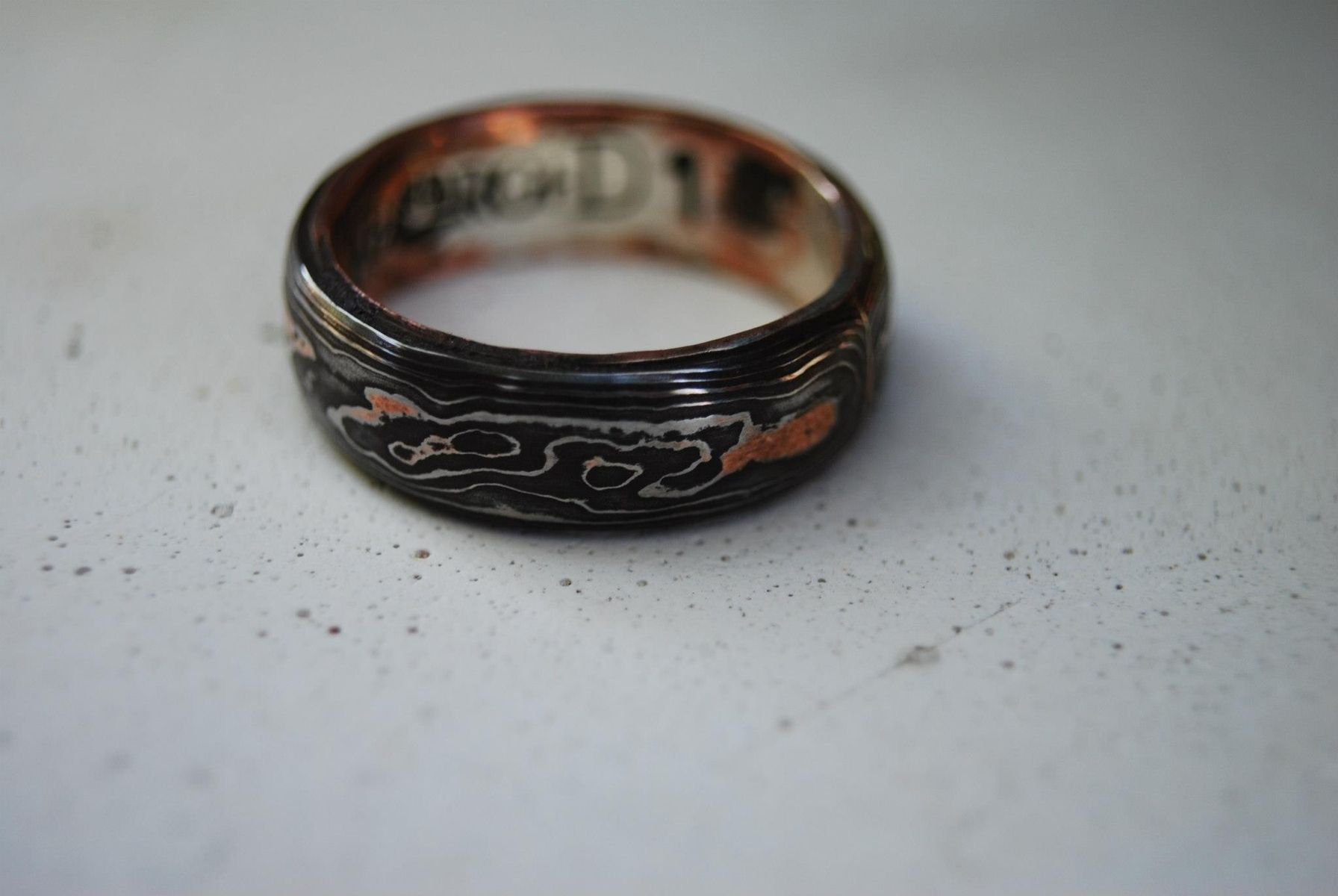 Hand made pattern welded damascus woodgrain wedding band for Custom made wedding bands to fit engagement ring