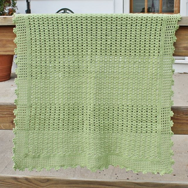 Hand Crafted Crochet Baby Blanket Pattern Lightweight Lacy Shell ...