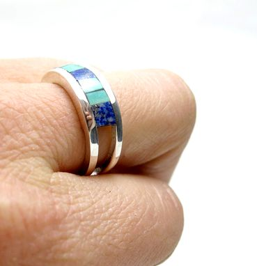 Custom Made Modern Colorful Stone Inlay Ring