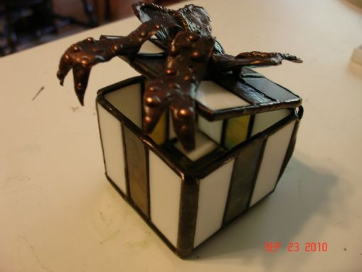 Custom Made Stained Glass Ribbon Box With Copper Bow
