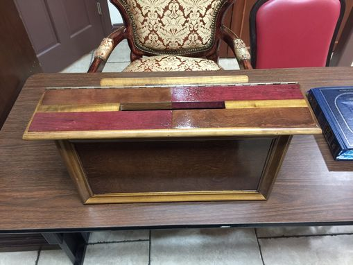 Custom Made Antique Handmade Segmented Solid Wood Shtender/Lectern W/ Envelope Slot