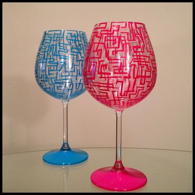 Custom Made Hand Painted Wine Glass. Abstract Pink And Blue Designs