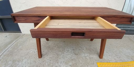 Custom Made Mid-Century Modern Solid Walnut Single-Drawer Desk