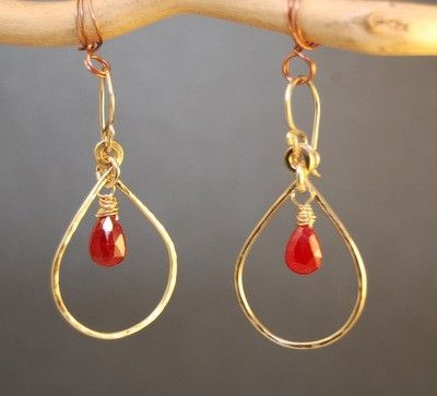 Custom Made Ruby Drop Hoops