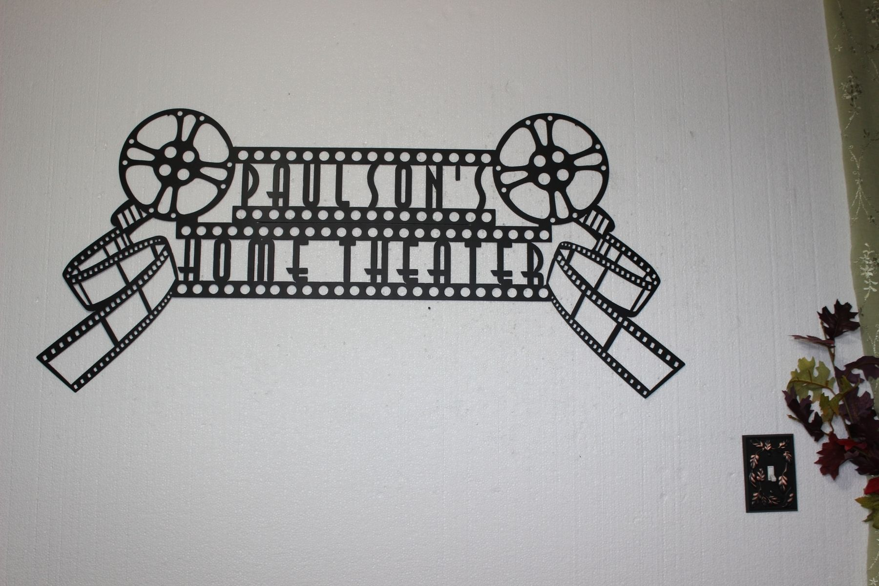 Handmade Custom Home Theater Sign With Dual Movie Reels