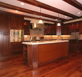 Custom Made Coffered Kitchen Ceiling In Hardwood.