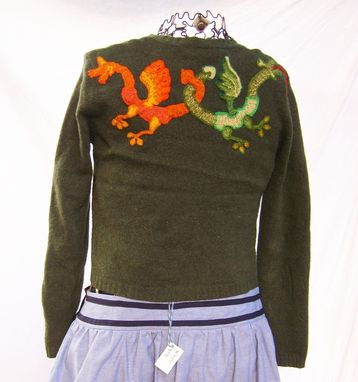 Custom Made Upcycled Green Wool Sweater With Crocheted Dragons And Vintage Rayon Velvet Appliqués, Size Large