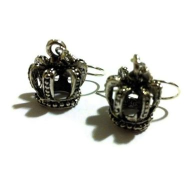 Custom Made Silver Crown Earrings