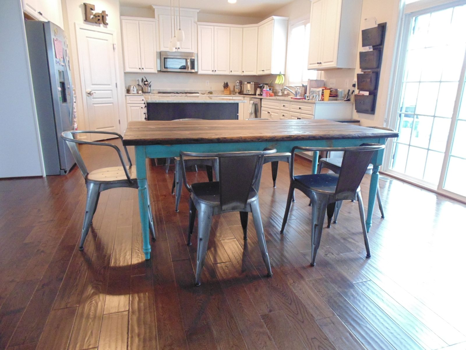 Custom Made Reclaimed Wood Farmhouse Table With Beautiful Turquoise Turned  Legs. Hand Made Reclaimed Wood Farmhouse Table With Beautiful Turquoise