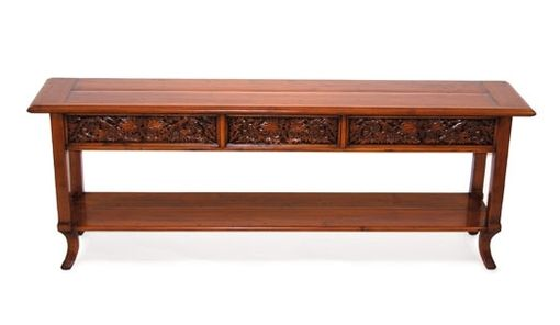 Custom Made Sofa Back Table 3 Carved Drawers By Robert Seliger