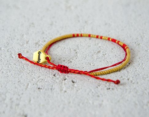 Custom Made Custom Morse Code Bracelet - Bright Red & Gold