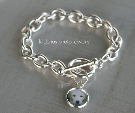 Custom Made Silver Link Bracelet With Round Photo Charm