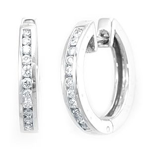 Custom Made Diamond Hoop Earrings In 14k White Gold, Diamond Earrings, Hoop Earrings