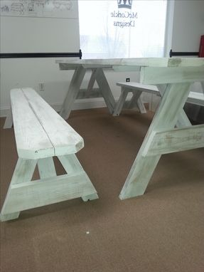 Custom Made 6ft Picnic Table With Distressed Finish !