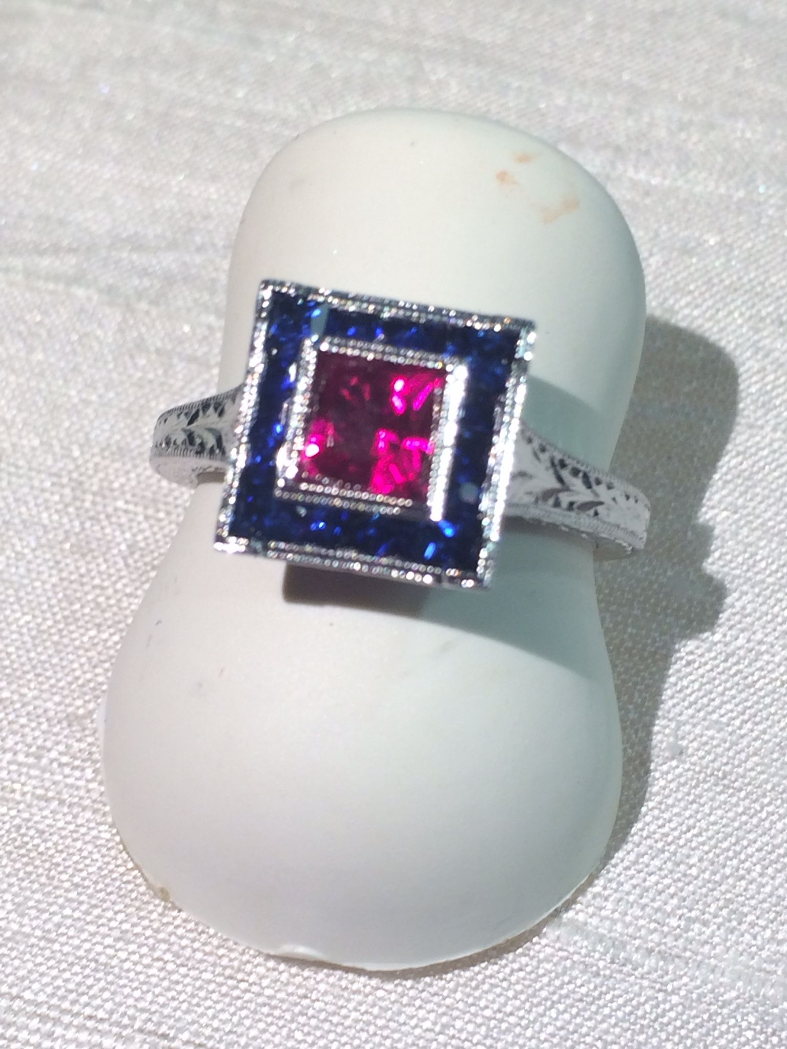 Hand Made Lab Created Ruby And Natural Sapphire Ring by