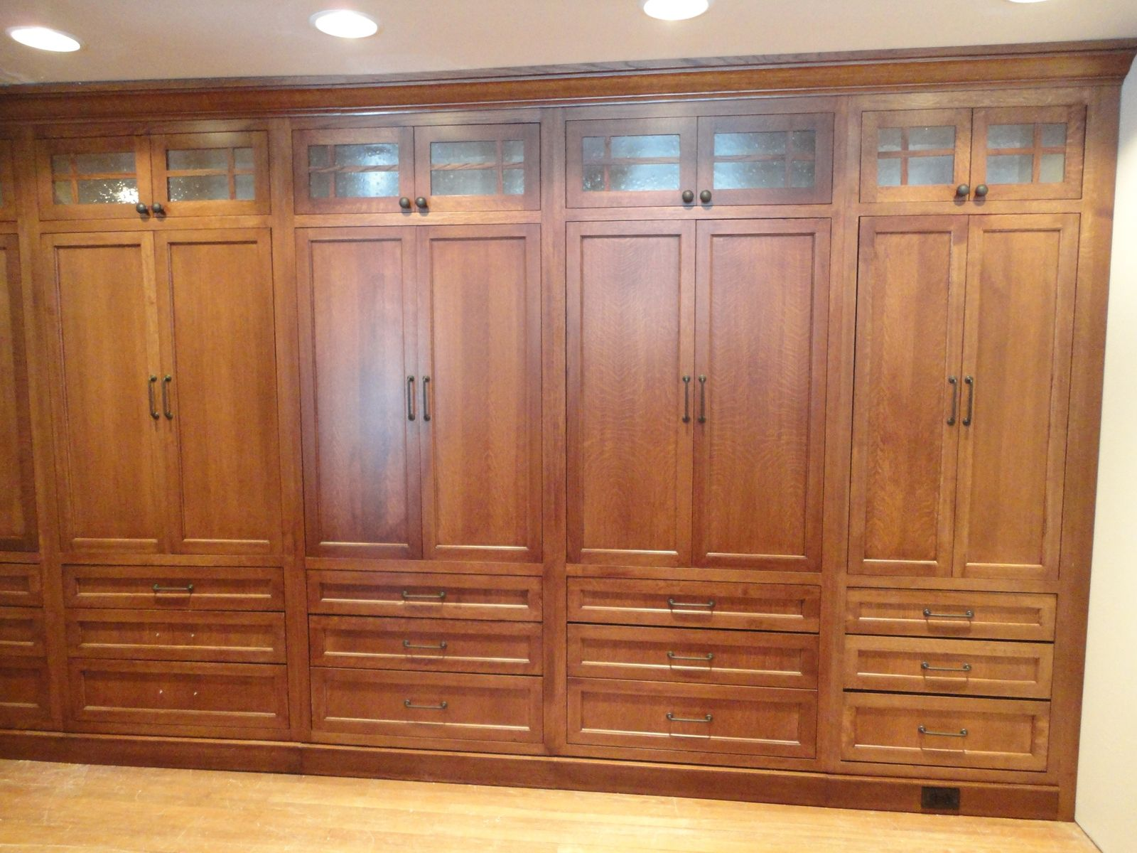 Custom made white oak wardrobe closet by oak mountain for Custom built cabinets