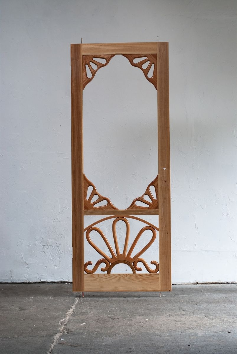 Handmade custom wooden screen door by creative openings for Custom made wood doors
