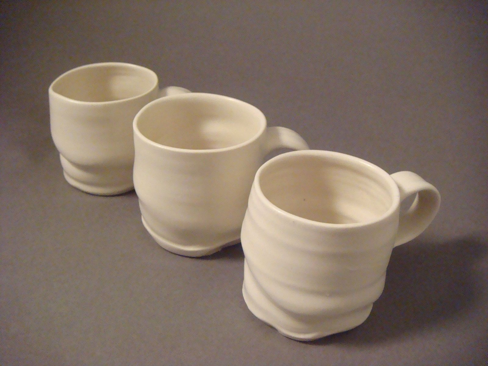 Hand Made Hand Thrown Porcelain Coffee Mugs By Elizabeth