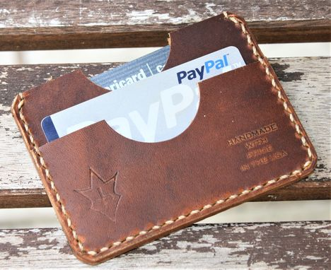 Custom Made Handmade Leather Parvus Wallet Sunset Oil Tan W/ Money Band