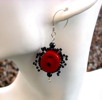 Custom Made Red Coral Earrings With Black Seed Beads