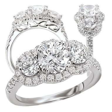 Custom Made 18k White Gold 3-Stone Style Diamond Halo Engagement Ring Semi-Mount